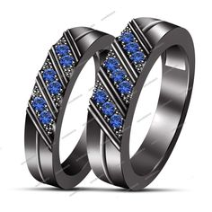 Olivica 2pcs His /& Hers Stainless Steel Forever Love Matching Couple Rings Wedding Engagement Band Blue