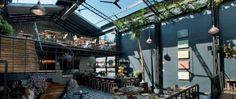 Outdoor Chillspace / Romita Comedor : un restaurant sous verrière à Mexico Bistro Design, Coffee Shop Design, Cafe Design, Design Design, Modern Design, Small Restaurant Design, Deco Restaurant, Restaurant Lounge, Atrium Restaurant