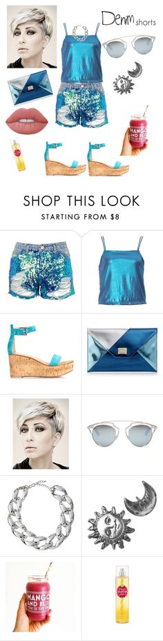 """""""denim short"""" by prettycarole ❤ liked on Polyvore featuring Topshop, Gianvito Rossi, Jimmy Choo, Christian Dior, Kenneth Jay Lane, Stefanie Sheehan Jewelry, Lime Crime, jeanshorts, denimshorts and cutoffs"""