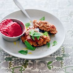 Beetroot and lamb go perfectly in this lamb burgers with beetroot houmous recipe