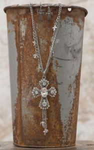 Silver with Rhinestone Cross Pendant & Multi Chain Design Jewelry Set