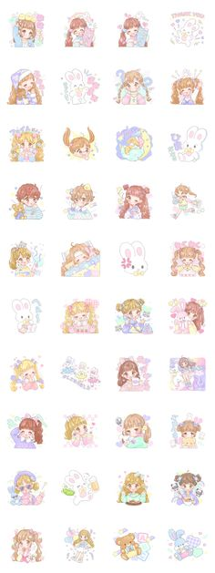 """kawaii girls"" Sticker illustration by manamoko"