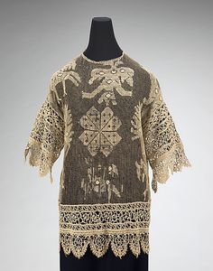 Evening Overblouse of Reticella & Darned Lacis Laces, French, 1910.