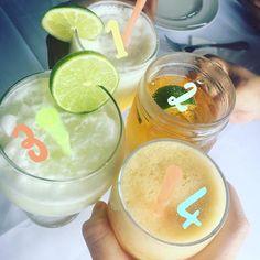 Nessa foto tem:   Limonada com leite de coco   Cerveja   Limonada com água e gelo   Suco de mexerica  Pergunta 1: qual número é de qual receita?  Pergunta 2: qual o seu preferido?  #SextaDetox
