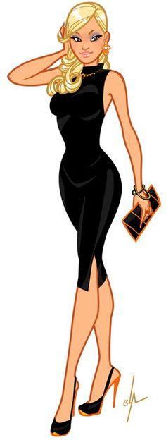 Lady, long black dress / Donna, vestito nero lungo - Illust: Ludwig Alizon