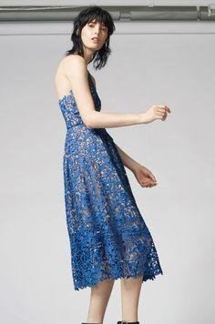 Warehouse, LACE HALTER DRESS Bright Blue 0