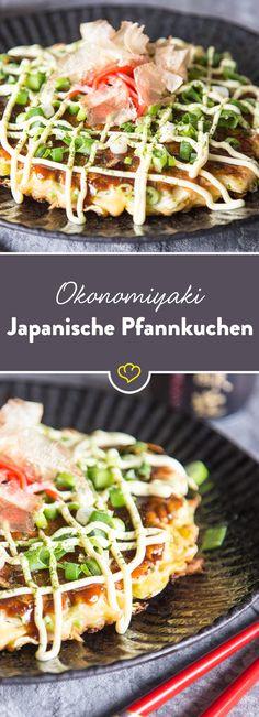 Okonomiyaki - Japanese pancake with bacon and cabbage - Asiatische Rezepte - eine Vielfalt exotischer Aromen - Asian Recipes Fish Recipes, Asian Recipes, Healthy Recipes, Ethnic Recipes, Okra Recipes, Japanese Pancake, Japanese Food, Japanese Recipes, Gastronomia