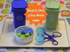 Recycle Sorting Fine Motor Game - Stir The Wonder Fine Motor Activities For Kids, Pre K Activities, Motor Skills Activities, Fine Motor Skills, Recycling Games, Garbage Recycling, Community Helpers Preschool, Creative Curriculum, Preschool Themes