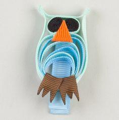 Owl Ribbon Hair Bow.