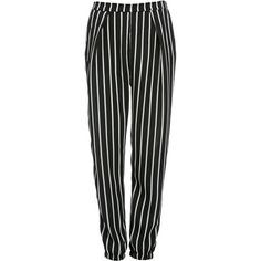 Glamorous Tapered Cuff Striped Trousers (85 CAD) ❤ liked on Polyvore featuring pants, multi, tapered trousers, stripe pants, striped pants, cuffed pants and striped trousers