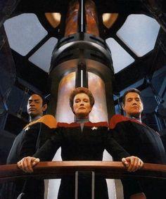 Tuvok, Janeway and Chakotay, Voyager.