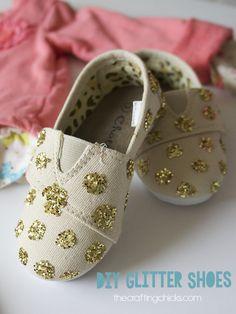 DIY Easy Glittered Shoes #kids