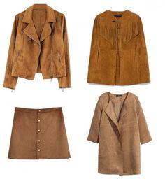 15 tendances mode automne hiver 2015-2016 - Le daim (la veste Promod à 49,95€ et la jupe Pimkie à 29,99€)