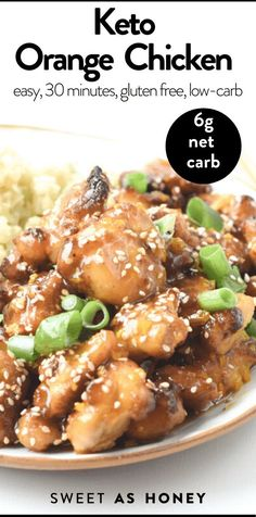 Keto Orange Chicken an Easy 30-minutes Chinese fried chicken coated with Sticky Sugar-free Orange Sauce #ketoorangechicken #ketochickenrecipes #ketorecipes #ketodinner #ketomeal #orangechicken #easy #healthy #30minutes #lowcarb #glutenfree Orange Chicken Sauce, Healthy Orange Chicken, Chicken Sauce Recipes, Sauce For Chicken, Keto Chicken, Fried Chicken Coating, Crispy Fried Chicken, Dairy Free Keto Recipes, Healthy Low Carb Recipes