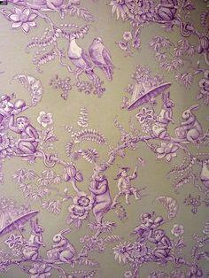 Pierre Frey Toile Fabric   Bunny and monkeys.....Pierre Frey Ouistitis toile wallpaper