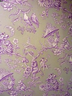 Pierre Frey Toile Fabric | Bunny and monkeys.....Pierre Frey Ouistitis toile wallpaper