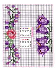 fleur - flower - clochette - point de croix - cross stitch - Blog : http://broderiemimie44.canalblog.com/