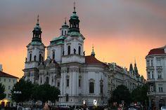 Prague Church at Sunset