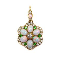 Late Victorian opal, diamond and demantoid garnet cluster pendant ...
