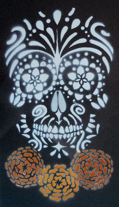 Sugar Skull Stencil on Tile by darcydoll.deviantart.com