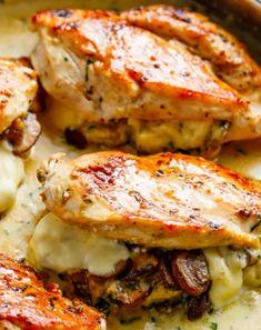 Great Garlic Butter Mushroom Stuffed Chicken - Recipes, Main Dish, Quick, Easy