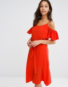 River Island Frill Cold Shoulder Button Front Dress