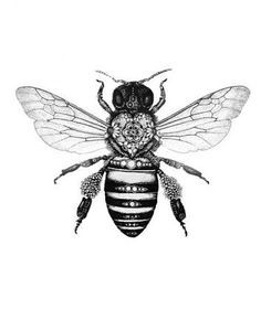 Image result for black and grey bee tattoo