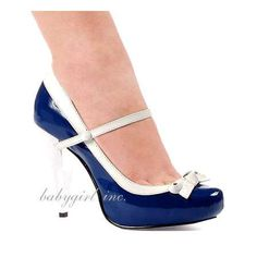 Ellie Shoes - Navy & White Mary Jane Pinup Pumps with Bow