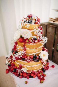 Bohemian/country wedding ! So beautiful !!!  Naked Cake Layer Sponge Fruit Flowers Icing Lego Toppers Quaint Home Made Farm Big Party Wedding http://www.emmacasephotography.com/