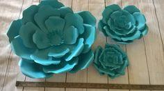 Aqua blue giant paper flower wall set of 3 photo backdrop