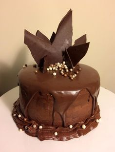 [homemade] A triple chocolate birthday cake my wife made me! #food #foodporn #recipe #cooking #recipes #foodie #healthy #cook #health #yummy #delicious