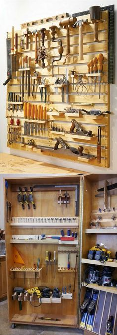 Meilleur site de Bricolage, DIY, Outillage, Astuces - Idées d'organisation de garage Estás en el lugar correcto para GARAGE Aquí presentamos amenage - Craft Room Storage, Craft Room Closet, Diy Garage Storage, Workshop Storage, Garage Organization, Storage Ideas, Diy Workshop, Workshop Shelving, Creative Storage