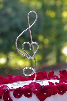 Music Note with Heart Freestanding Cake Topper Keepsake for all Music Lovers | crosswiredesign - Wedding on ArtFire