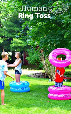Human Ring Toss Game - A Fun and Easy Summer Outdoor Game for Kids and Adults - DIY game for the backyard or even indoors - Would also make a great Minute To Win It game! www.kidfriendlythingstodo.com