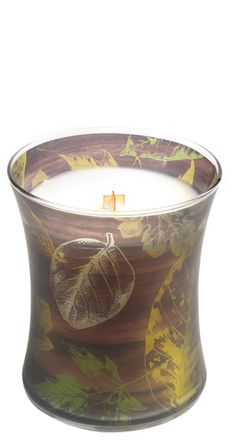 Bring a touch of the outdoors in |WoodWick® Applewood Autumn Medium Hourglass Candle