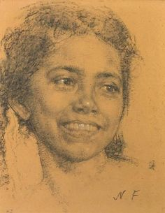 View Head of a smiling young girl By Nicolai Fechin; charcoal with white highlights on brown paper; Access more artwork lots and estimated & realized auction prices on MutualArt. Life Drawing, Drawing Sketches, Pencil Drawings, Painting & Drawing, Art Drawings, Sketching, Portrait Sketches, Portrait Art, Drawing Techniques