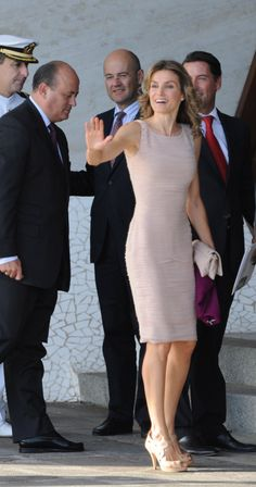 Pin for Later: 44 Times Queen Letizia of Spain Made The Fashion World Bow Down When She Wore the Perfect Sheath Dress Letizia's dress was fit to perfection for a 2012 engagement.
