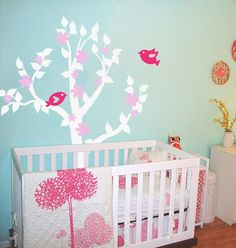 Flowery Tree with 2 Love Birds  Vinyl Wall by AirlieCreations, $55.00