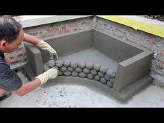 Fountain Design, Pond Design, Concrete Crafts, Concrete Projects, Concrete Wall, Diy Projects, Diy Crafts For Home Decor, Handmade Home Decor, Diy Water Fountain