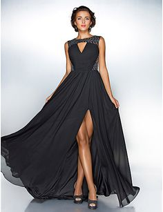 A-line Jewel Sweep/Brush Train Chiffon Evening Dress With Split Front inspired by Ziyi Zhang - USD $ 99.99