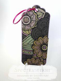 New colorista darks  Bookmark design, by Sarah Kay  Bookmark pencil pad, floral bouquet Metallic pencils Centura pearl, trends