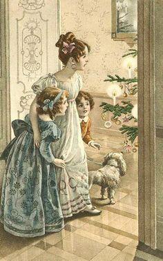 vintage victorian postcards   Vintage Christmas Fabric Block Vintage Postcard Victorian Parlor