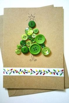 Items similar to Handmade Luxury Christmas Greeting Card Buttons Christmas Tree on Etsy Rossella Ross Button Christmas Cards, Button Cards, Christmas Cards To Make, Christmas Greeting Cards, Christmas Greetings, Kids Christmas, Handmade Christmas, Holiday Cards, Homemade Greeting Cards