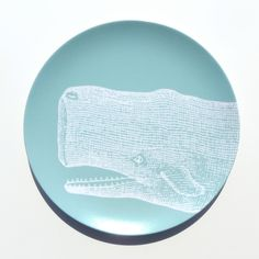 "Vintage Whale 10"" Melamine Plate, Seafoam by nicoleporterdesign on Etsy https://www.etsy.com/listing/156629200/vintage-whale-10-melamine-plate-seafoam"