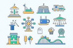 Amusement Park Line Design Icons by Decorwith.me Shop on Creative Market