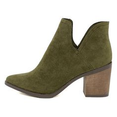 Ezra Olive Suede Ankle Booties ($32) ❤ liked on Polyvore featuring shoes, boots, ankle booties, green, pointed toe booties, green suede booties, green military boots, suede boots and cut out booties