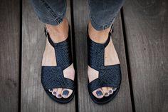 Uma Black Woven Lather Sandals - abramey