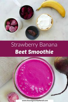 Enjoy nutritious fruits and vegetables in this colorful beet smoothie! It's slightly sweet and earthy, with added Greek yogurt for protein. #beetsmoothies #healthysmoothie Beet Smoothie, Veggie Smoothies, Nutritious Smoothies, Strawberry Banana Smoothie, Nutritious Snacks, Yummy Snacks, Healthy Fruits, Healthy Blender Recipes, Health Smoothie Recipes