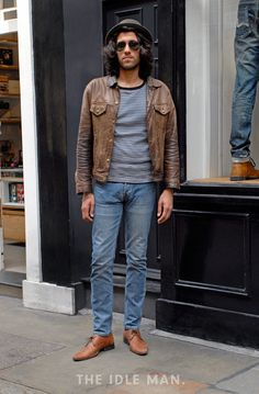 Men's street style | Get Your Tan On - Bust out your tan with this matching jacket and shoes combination over some classic blue jeans and white t-shirt. | Shop the look at The Idle Man