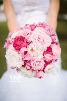The bride will carry a round clutch bouquet of white hydrangea, hot pink baroness garden roses, white lisianthus (no buds), blush roses, and light pink spray roses wrapped in white ribbon all the way to the ends of the stems.  www.stemfloral.com www.taylorlordphotography.com
